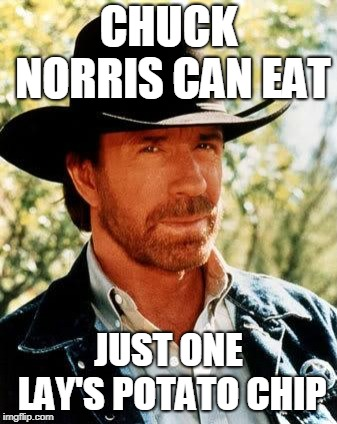 Chuck Norris Meme | CHUCK NORRIS CAN EAT JUST ONE LAY'S POTATO CHIP | image tagged in memes,chuck norris | made w/ Imgflip meme maker