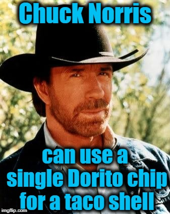 Chuck Norris Meme | Chuck Norris can use a single Dorito chip for a taco shell | image tagged in memes,chuck norris | made w/ Imgflip meme maker