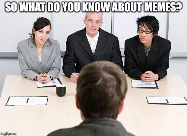 With All this Category Confusion the Voices in my Head Decided to Hire an Assistant to Ensure Compliance with the New Regs | SO WHAT DO YOU KNOW ABOUT MEMES? | image tagged in interview,memes,imgflip | made w/ Imgflip meme maker