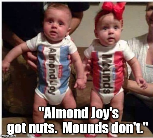 "haha | ""Almond Joy's got nuts.  Mounds don't."" 