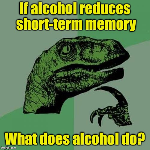 Drunk Philosoraptor | If alcohol reduces short-term memory What does alcohol do? | image tagged in memes,philosoraptor | made w/ Imgflip meme maker
