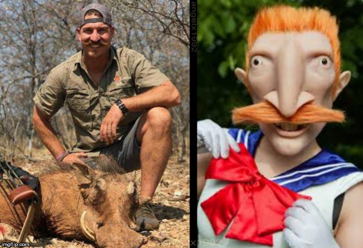 nigel thornberry / blake fischer | image tagged in sailor moon,hunting,cartoon,blake,idiot,coward | made w/ Imgflip meme maker