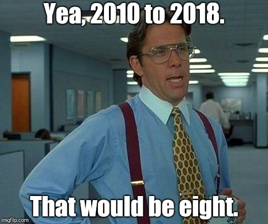 That Would Be Great Meme | Yea, 2010 to 2018. That would be eight. | image tagged in memes,that would be great | made w/ Imgflip meme maker