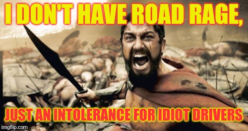 Sparta Leonidas | I DON'T HAVE ROAD RAGE, JUST AN INTOLERANCE FOR IDIOT DRIVERS | image tagged in memes,sparta leonidas | made w/ Imgflip meme maker