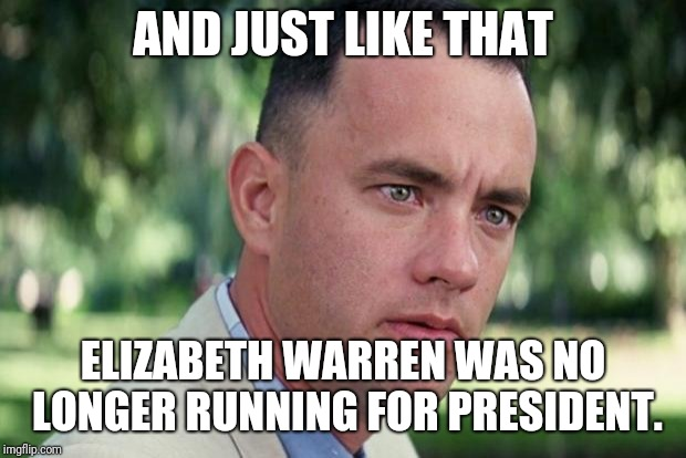 Forrest gump | AND JUST LIKE THAT ELIZABETH WARREN WAS NO LONGER RUNNING FOR PRESIDENT. | image tagged in forrest gump | made w/ Imgflip meme maker
