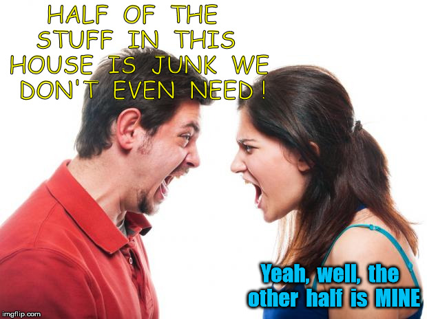 This can only end well | HALF  OF  THE  STUFF  IN  THIS  HOUSE  IS  JUNK  WE  DON'T  EVEN  NEED ! Yeah,  well,  the  other  half  is  MINE | image tagged in angry fighting married couple husband  wife | made w/ Imgflip meme maker