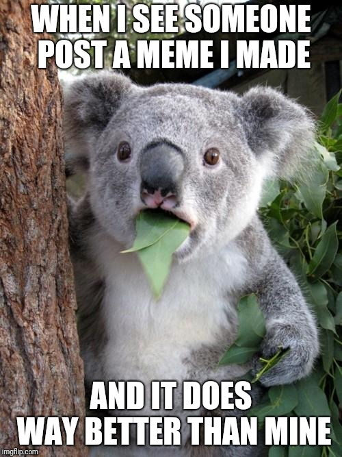 Surprised Koala | WHEN I SEE SOMEONE POST A MEME I MADE AND IT DOES WAY BETTER THAN MINE | image tagged in memes,surprised koala | made w/ Imgflip meme maker