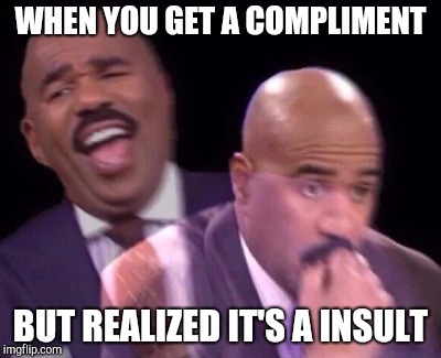 Steve Harvey Laughing Serious | WHEN YOU GET A COMPLIMENT BUT REALIZED IT'S A INSULT | image tagged in steve harvey laughing serious | made w/ Imgflip meme maker