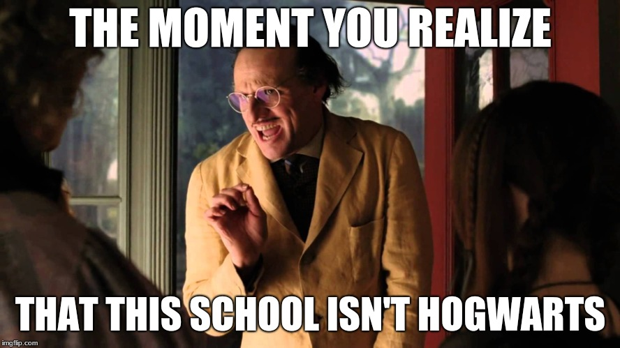 THE MOMENT YOU REALIZE THAT THIS SCHOOL ISN'T HOGWARTS | image tagged in the moment you realize | made w/ Imgflip meme maker