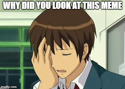 Y tho |  WHY DID YOU LOOK AT THIS MEME | image tagged in memes,kyon face palm | made w/ Imgflip meme maker