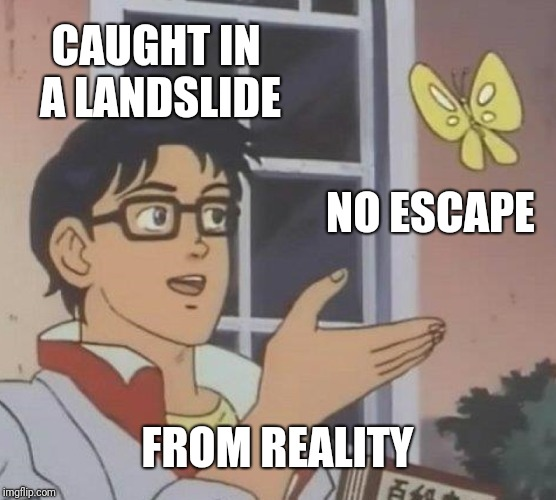 Is This A Pigeon Meme | CAUGHT IN A LANDSLIDE NO ESCAPE FROM REALITY | image tagged in memes,is this a pigeon | made w/ Imgflip meme maker