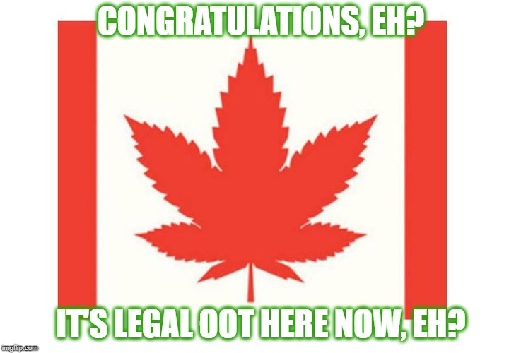 O, Cannabis | CONGRATULATIONS, EH? IT'S LEGAL OOT HERE NOW, EH? | image tagged in cannaba,legalize weed,weed,smoke weed everyday,canada,meanwhile in canada | made w/ Imgflip meme maker