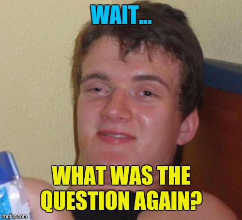 10 Guy Meme | WAIT... WHAT WAS THE QUESTION AGAIN? | image tagged in memes,10 guy | made w/ Imgflip meme maker