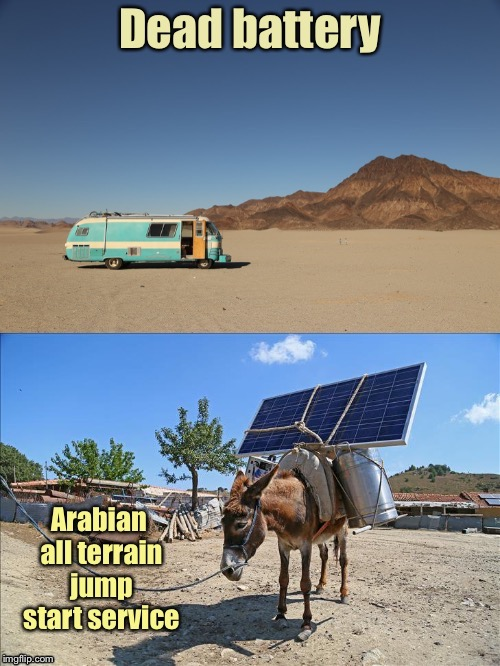 Triple A is everywhere | . | image tagged in funny memes,dead battery,solar panel,donkey,jump start,desert | made w/ Imgflip meme maker