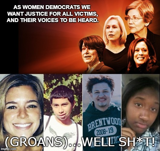 Democrat Support Sucks |  AS WOMEN DEMOCRATS WE WANT JUSTICE FOR ALL VICTIMS, AND THEIR VOICES TO BE HEARD. (GROANS)...WELL SH*T! | image tagged in democrats,ms13,illegal immigration,murder,victims,build a wall | made w/ Imgflip meme maker