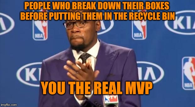 Otherwise there is hardly any room for my stuff, so thank you. | PEOPLE WHO BREAK DOWN THEIR BOXES BEFORE PUTTING THEM IN THE RECYCLE BIN YOU THE REAL MVP | image tagged in memes,you the real mvp,recycling,cardboard,boxes | made w/ Imgflip meme maker