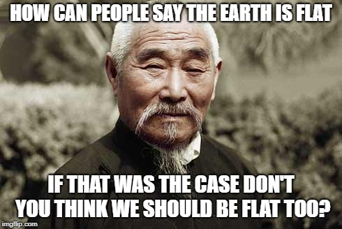 Wise man | HOW CAN PEOPLE SAY THE EARTH IS FLAT IF THAT WAS THE CASE DON'T YOU THINK WE SHOULD BE FLAT TOO? | image tagged in wise man | made w/ Imgflip meme maker