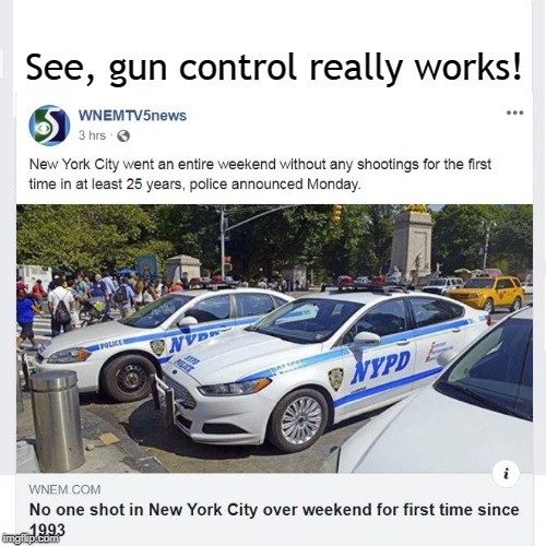 New York City | See, gun control really works! | image tagged in gun control,nra,shooting | made w/ Imgflip meme maker