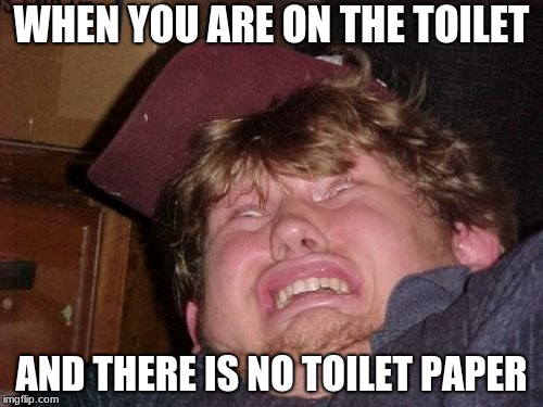 WTF Meme |  WHEN YOU ARE ON THE TOILET; AND THERE IS NO TOILET PAPER | image tagged in memes,wtf | made w/ Imgflip meme maker