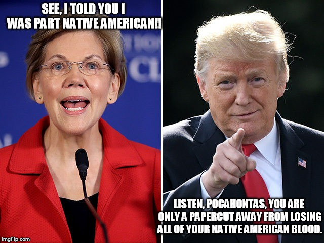 Trump be like... | SEE, I TOLD YOU I WAS PART NATIVE AMERICAN!! LISTEN, POCAHONTAS, YOU ARE ONLY A PAPERCUT AWAY FROM LOSING ALL OF YOUR NATIVE AMERICAN BLOOD. | image tagged in pocahontas,elizabeth warren,trump,native american | made w/ Imgflip meme maker