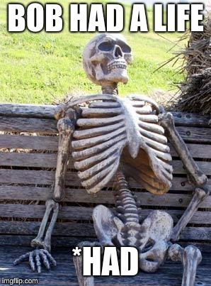 Waiting Skeleton |  BOB HAD A LIFE; *HAD | image tagged in memes,waiting skeleton | made w/ Imgflip meme maker