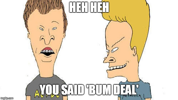 Beavis & Butthead | HEH HEH YOU SAID 'BUM DEAL' | image tagged in beavis  butthead | made w/ Imgflip meme maker