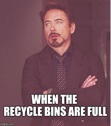 Face You Make Robert Downey Jr Meme | WHEN THE RECYCLE BINS ARE FULL | image tagged in memes,face you make robert downey jr | made w/ Imgflip meme maker