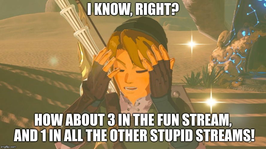 Link WTF | I KNOW, RIGHT? HOW ABOUT 3 IN THE FUN STREAM, AND 1 IN ALL THE OTHER STUPID STREAMS! | image tagged in link wtf | made w/ Imgflip meme maker
