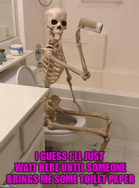 When you're single, you'd better be prepared!!! | I GUESS I'LL JUST WAIT HERE UNTIL SOMEONE BRINGS ME SOME TOILET PAPER | image tagged in skeleton on toilet,memes,out of tp,funny,tp blues,single | made w/ Imgflip meme maker