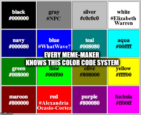The Secret Code of Memers | EVERY MEME-MAKER KNOWS THIS COLOR CODE SYSTEM | image tagged in memes,phunny,theelliot,political,npc,elizabeth warren | made w/ Imgflip meme maker