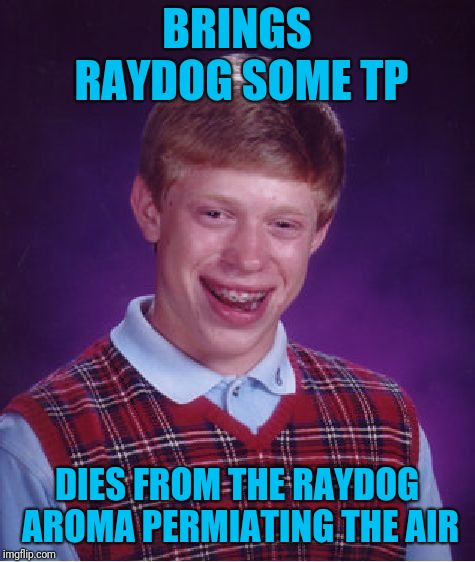 Bad Luck Brian Meme | BRINGS RAYDOG SOME TP DIES FROM THE RAYDOG AROMA PERMIATING THE AIR | image tagged in memes,bad luck brian | made w/ Imgflip meme maker