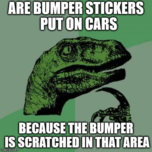 Philosoraptor | ARE BUMPER STICKERS      PUT ON CARS BECAUSE THE BUMPER IS SCRATCHED IN THAT AREA | image tagged in memes,philosoraptor,bumper sticker,scratch | made w/ Imgflip meme maker