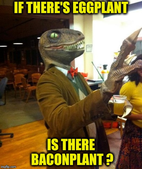 I wanna party with this dude | IF THERE'S EGGPLANT IS THERE BACONPLANT ? | image tagged in philosoraptor party,question,fast food,bacon and eggs,why not both,unnecessary tags | made w/ Imgflip meme maker