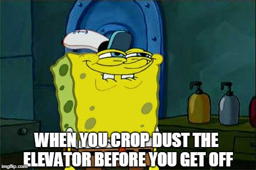 Crop dust the elevator | WHEN YOU CROP DUST THE ELEVATOR BEFORE YOU GET OFF | image tagged in fart,elevator,crop dusting | made w/ Imgflip meme maker