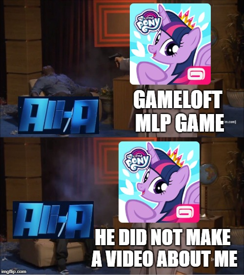 Gameloft Vs Ali-a | GAMELOFT MLP GAME HE DID NOT MAKE A VIDEO ABOUT ME | image tagged in memes,who killed hannibal,my little pony,ali-a,gameloft | made w/ Imgflip meme maker