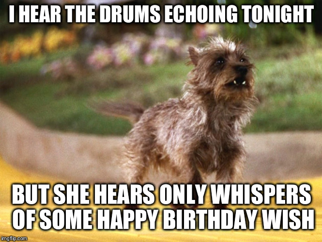 Toto Africa | I HEAR THE DRUMS ECHOING TONIGHT BUT SHE HEARS ONLY WHISPERS OF SOME HAPPY BIRTHDAY WISH | image tagged in toto africa | made w/ Imgflip meme maker