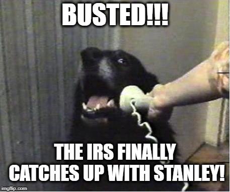 Nowhere to Run | BUSTED!!! THE IRS FINALLY CATCHES UP WITH STANLEY! | image tagged in yes this is dog,taxes,busted,surprise,doomed | made w/ Imgflip meme maker