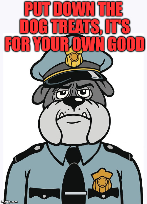 police dog | PUT DOWN THE DOG TREATS, IT'S FOR YOUR OWN GOOD | image tagged in police dog | made w/ Imgflip meme maker