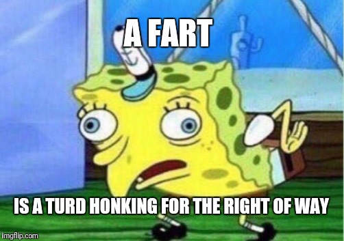 Mocking Spongebob Meme | A FART IS A TURD HONKING FOR THE RIGHT OF WAY | image tagged in memes,mocking spongebob | made w/ Imgflip meme maker
