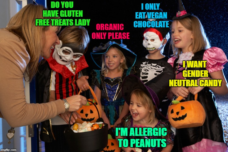 The kids in my hood will take whatever we're givin' out...Hope they don't get frozen out like last year!!! | DO YOU HAVE GLUTEN FREE TREATS LADY ORGANIC ONLY PLEASE I ONLY EAT VEGAN CHOCOLATE I WANT GENDER NEUTRAL CANDY I'M ALLERGIC TO PEANUTS | image tagged in halloween,memes,the new age,funny,candy,health food nuts | made w/ Imgflip meme maker