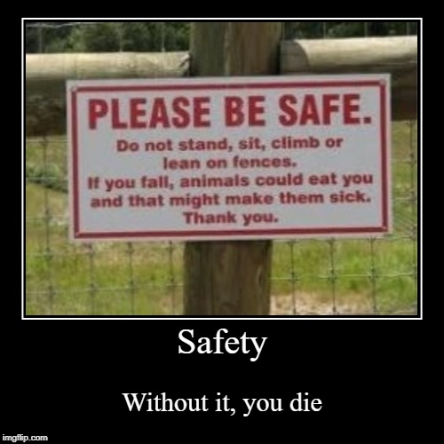 Stay Safe! ;D | Safety | Without it, you die | image tagged in funny,demotivationals,safety,sign,funny sign,memes | made w/ Imgflip demotivational maker