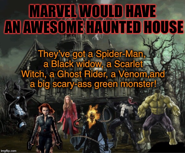 A Marvel-ously Haunted House! | MARVEL WOULD HAVE AN AWESOME HAUNTED HOUSE They've got a Spider-Man, a Black widow, a Scarlet Witch, a Ghost Rider, a Venom,and a big scary- | image tagged in marvel,haunted house,scary,superheroes,original memes | made w/ Imgflip meme maker