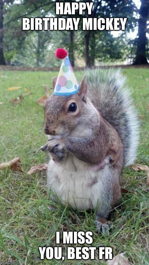 Super Birthday Squirrel |  HAPPY BIRTHDAY MICKEY; I MISS YOU, BEST FRIEND | image tagged in memes,super birthday squirrel | made w/ Imgflip meme maker