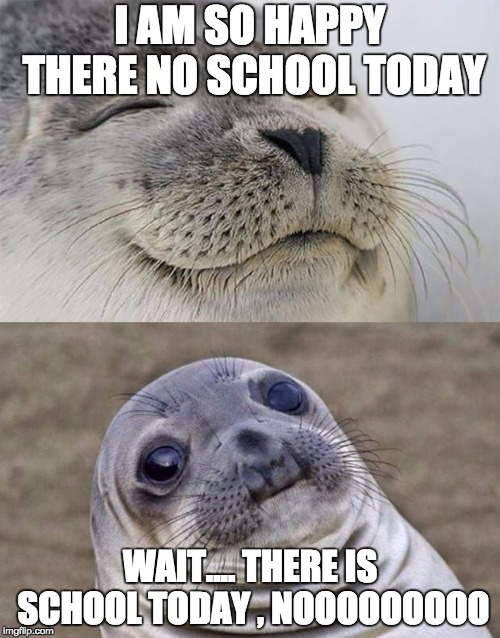 Short Satisfaction VS Truth Meme | I AM SO HAPPY THERE NO SCHOOL TODAY WAIT.... THERE IS SCHOOL TODAY , NOOOOOOOOO | image tagged in memes,short satisfaction vs truth | made w/ Imgflip meme maker