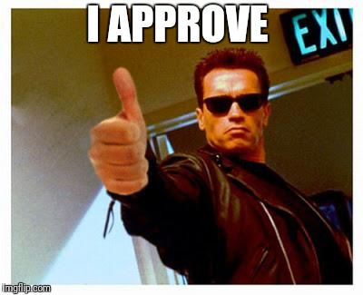 terminator thumbs up | I APPROVE | image tagged in terminator thumbs up | made w/ Imgflip meme maker