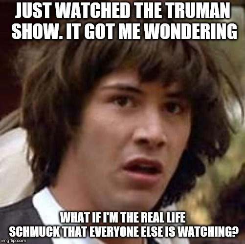 Conspiracy Keanu | JUST WATCHED THE TRUMAN SHOW. IT GOT ME WONDERING WHAT IF I'M THE REAL LIFE SCHMUCK THAT EVERYONE ELSE IS WATCHING? | image tagged in memes,conspiracy keanu,paranoia | made w/ Imgflip meme maker