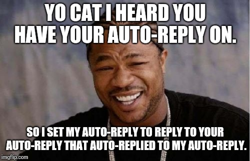 Yo Dawg Heard You Meme | YO CAT I HEARD YOU HAVE YOUR AUTO-REPLY ON. SO I SET MY AUTO-REPLY TO REPLY TO YOUR AUTO-REPLY THAT AUTO-REPLIED TO MY AUTO-REPLY. | image tagged in memes,yo dawg heard you | made w/ Imgflip meme maker