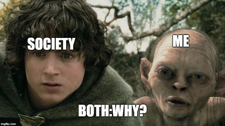 Reaction to people who like Minion memes. | ME SOCIETY BOTH:WHY? | image tagged in frodo and smeagol confusion,lord of the rings,frodo,smeagol,minions | made w/ Imgflip meme maker
