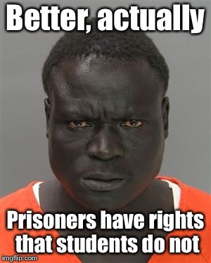 Misunderstood Prison Inmate | Better, actually Prisoners have rights that students do not | image tagged in misunderstood prison inmate | made w/ Imgflip meme maker
