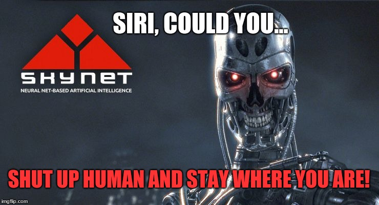 The future is already here. Prepare to die. | SIRI, COULD YOU... SHUT UP HUMAN AND STAY WHERE YOU ARE! | image tagged in skynet,memes,dystopia,siri,technology,science fiction | made w/ Imgflip meme maker